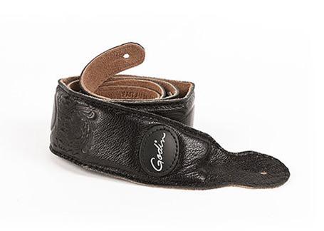 Godin Black Western Print Padded Leather Strap w/Patch Logo