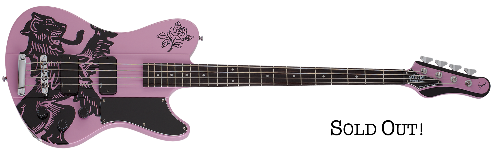 Simon Gallup Ultra Spitfire Bass Punk Rock Pink SKU #2243